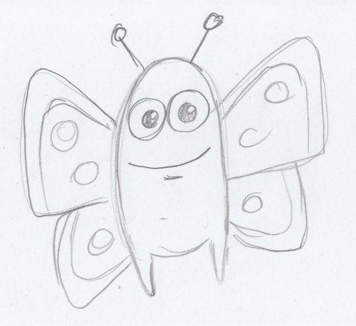 Sketch of a cartoon butterfly