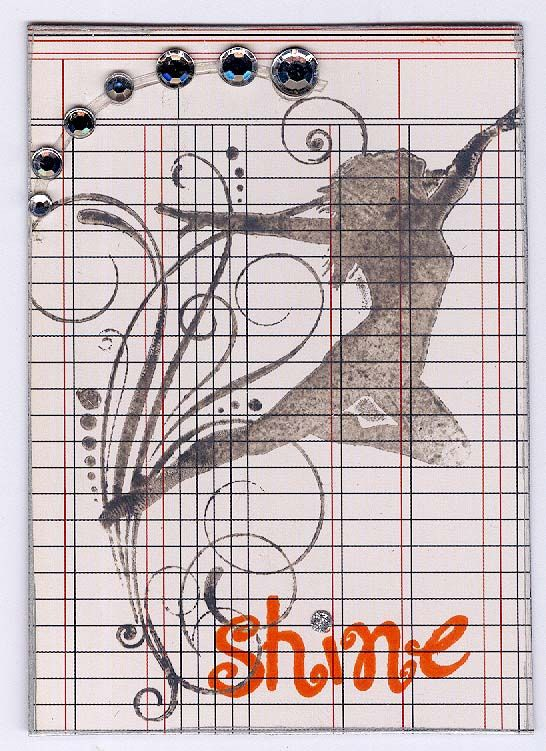 #ATC #dance #shine (created from scrap packaging, stamped image and bling)