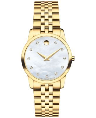 Movado Women's Swiss Museum Classic Diamond Accent Gold-Tone PVD Stainless Steel Bracelet Watch 28mm 0606998