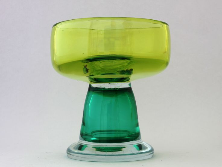 """Erik Hoglund, Chribska """"Footed glass bowl in yellow, green and clear glass"""""""