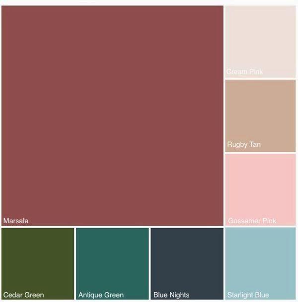 Trocar marsala por lilás, lavanda, o verde musgo por um mais aberto e o marrom por malva