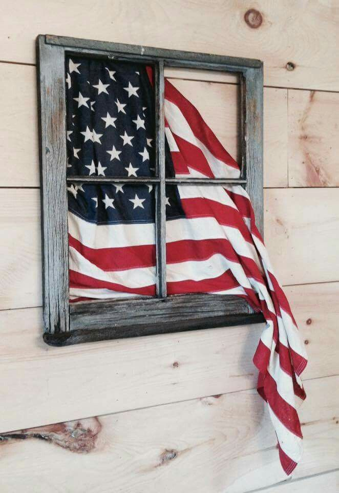 Old Window Flag Display For Over Stairway Wood Crafts