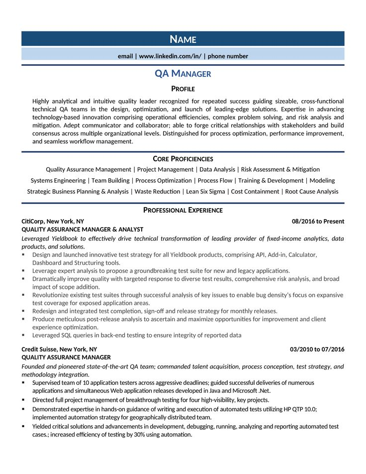 Qa manager resume samples template guide in 2020