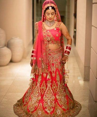 Pink and gold bridal lehenga