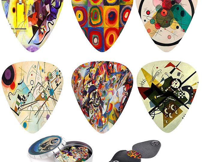 Abstract Art Cool Guitar Picks - Wassily Kandinsky Plectrum. 12 Celluloid Medium Picks, Leather Keychain Picks Holder. Best Guitarist Gift