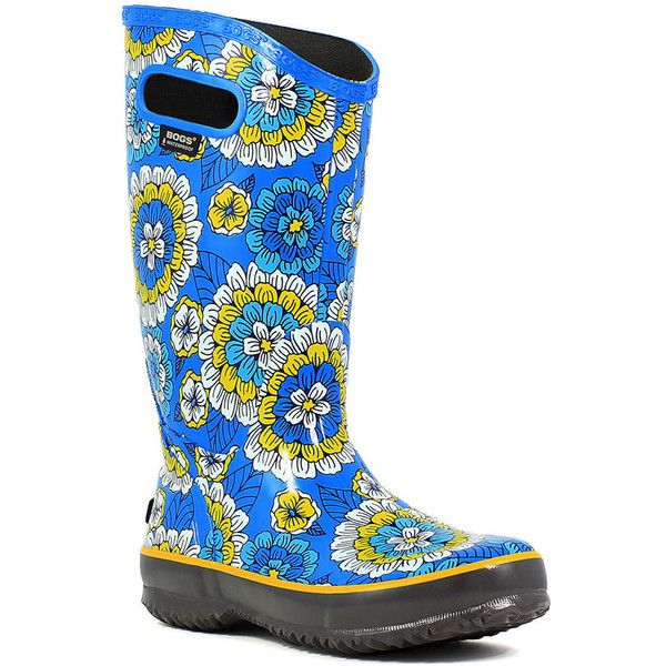 BOGS Rainboot Pansies Women's Blue Boot 9 M ($85) ❤ liked on Polyvore featuring shoes, boots, blue, rubber boots, waterproof boots, slip on rubber boots, waterproof rain boots and slip-on shoes