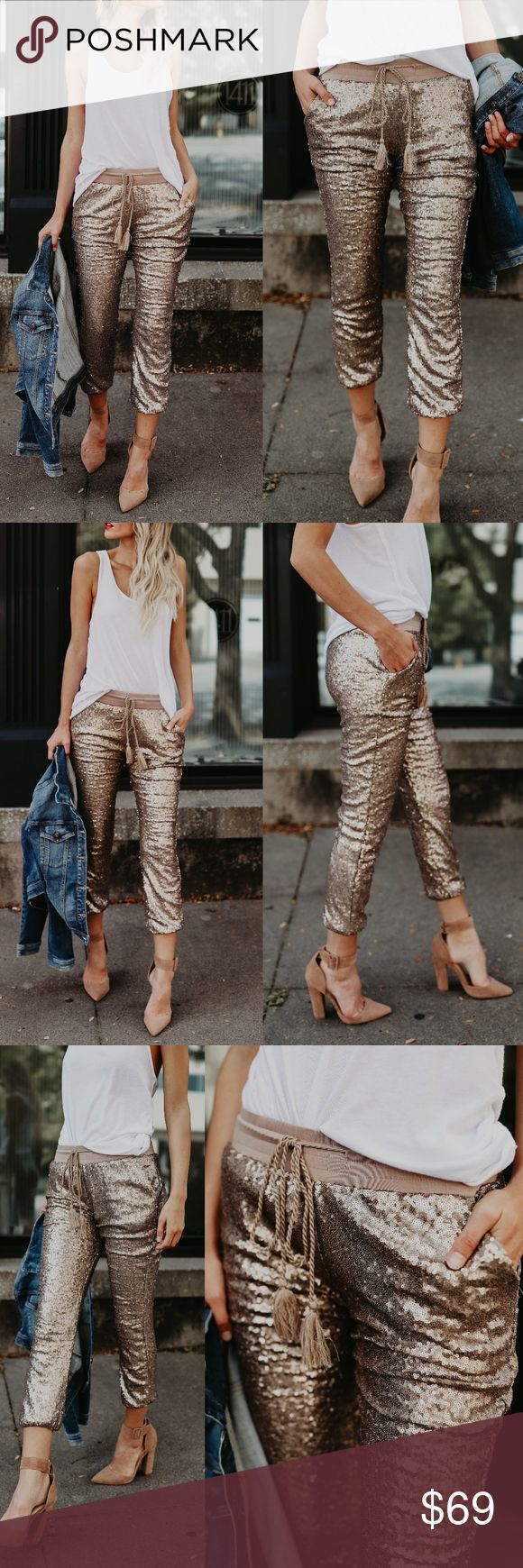 EVIE Sequin Joggers - ROSE GOLD Available in rose gold and silver. PRICE FIRM soft lining inside  NO TRADE  PRICE FIRM Bellanblue Pants Track Pants & Joggers