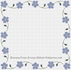 A Victorian forget-me-not cross stitch border. This free chart has a repeating wavy stem pattern that can be extended and reduced.