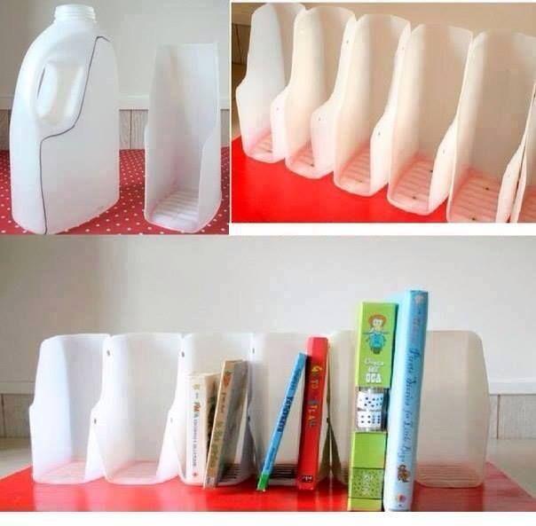 Comment recycler des bouteilles de lait en rangements pour bureau - Idées brico-déco