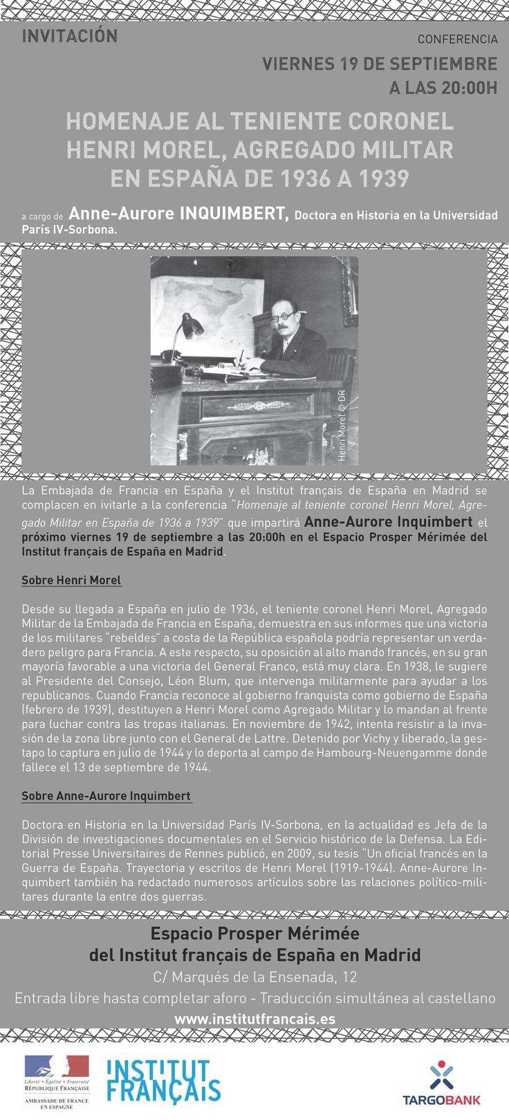 CONFERENCIA - Homenaje al Teniente Coronel Henri Morel el Viernes 19/09 a las 20hs en el IFM.