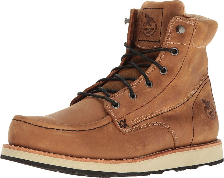 "Georgia Boot Men's Small Batch 6"" Moc Toe Wedge Brown Boot"