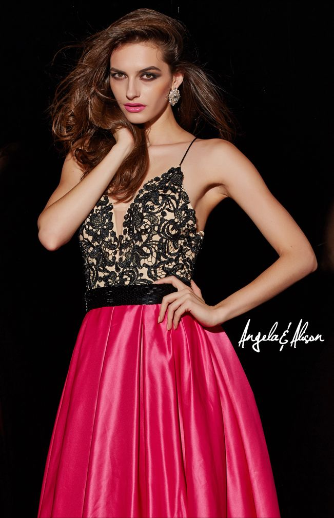 Style 51015 plunge neckline with spaghetti straps, lace overlay and satin skirt.  prom , homecoming, formal and pageants.