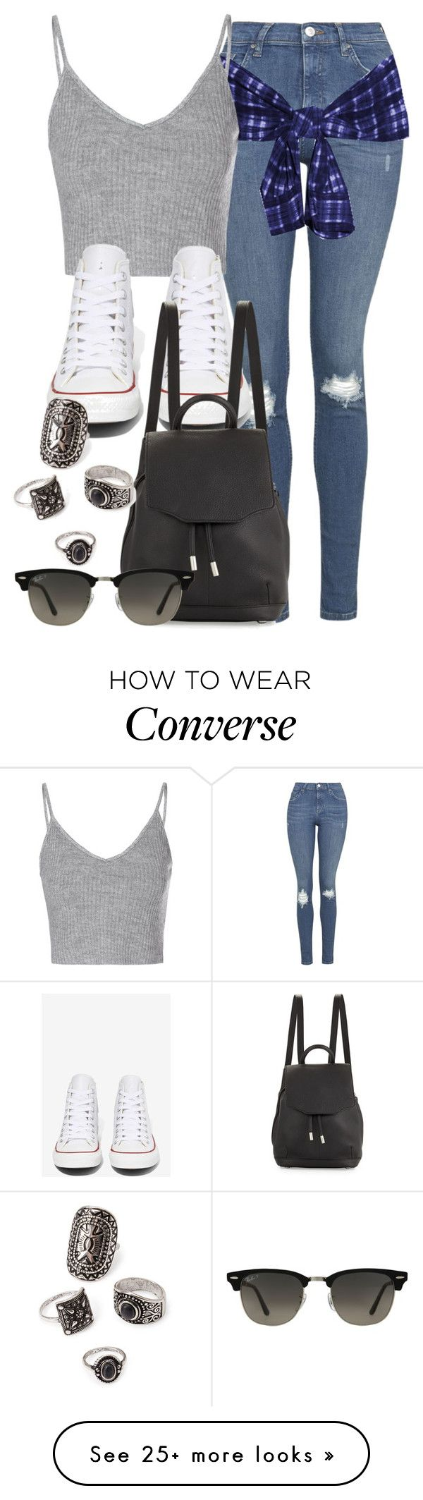 """Style #9990"" by vany-alvarado on Polyvore featuring Topshop, Glamorous, Converse, rag & bone, Ray-Ban and Forever 21"