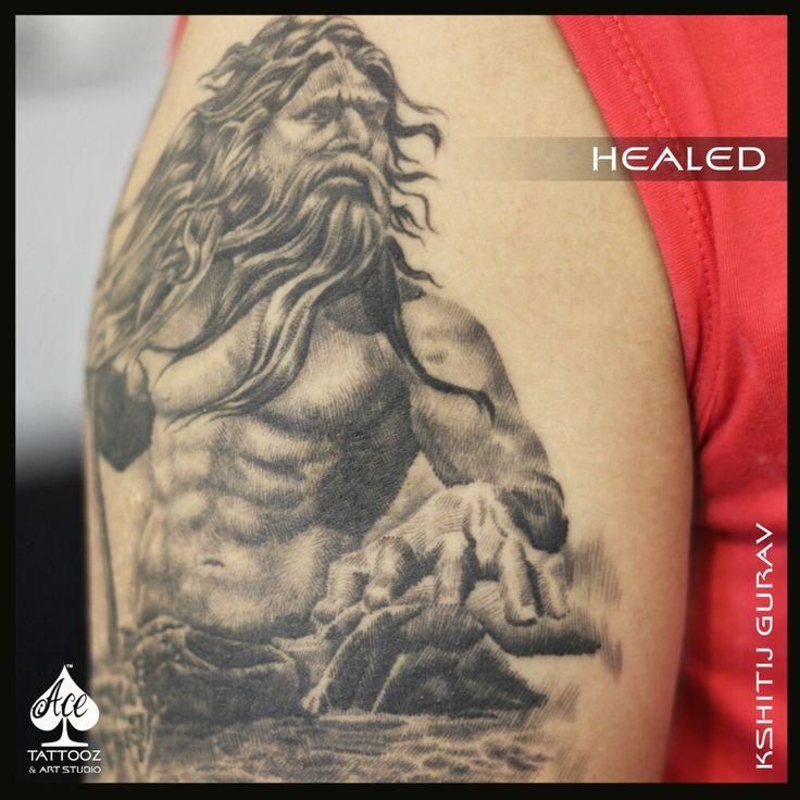 Poseidon tattoo  Healed Hatching Tattoo ;)  #Poseidontattoo #HealedTattoo #BlackandGrayTattoo  #GreekGod #GodofTheSea #KshitijGurav #AceTattoozColaba