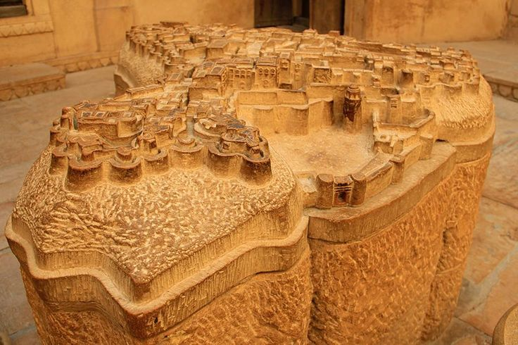 A carved sandstone model of the incredible walled fortress-city of Jaisalmer, Rajasthan, found where else but within the walled fortress-city of Jaisalmer, Rajasthan; photo by BLDGBLOG