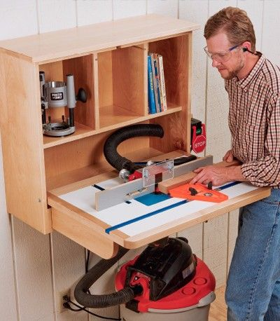 Wall Mounted Router Table by  -- Homemade wall-mounted router table constructed from plywood, lumber, pivot bolts, washers, and a power switch. http://www.homemadetools.net/homemade-wall-mounted-router-table