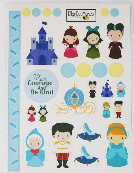 Cinderella Themed Sticker Kit by EllenBeeMakes on Etsy