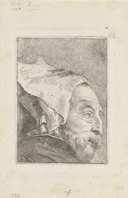 Giovanni Domenico Tiepolo, Italian, 1727–1804, Venice, 1696–1770, Profile of an Old Man, from the Raccolta di Teste (Collection of Heads), ca. 1771–74