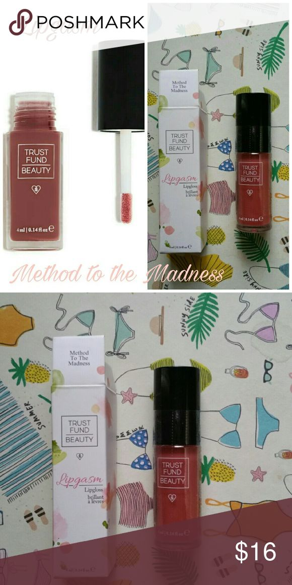 Trust Fund Beauty Lipgasm Lipgloss NIB! Trust Fund Beauty Lipgasm Lipgloss in Method to Madness. NIB!  Full Size! 0.14oz. Please let me know if you have any questions. 30% discount when using the bundle feature. No trades! Trust Fund Beauty Lipgasm  Makeup Lip Balm & Gloss