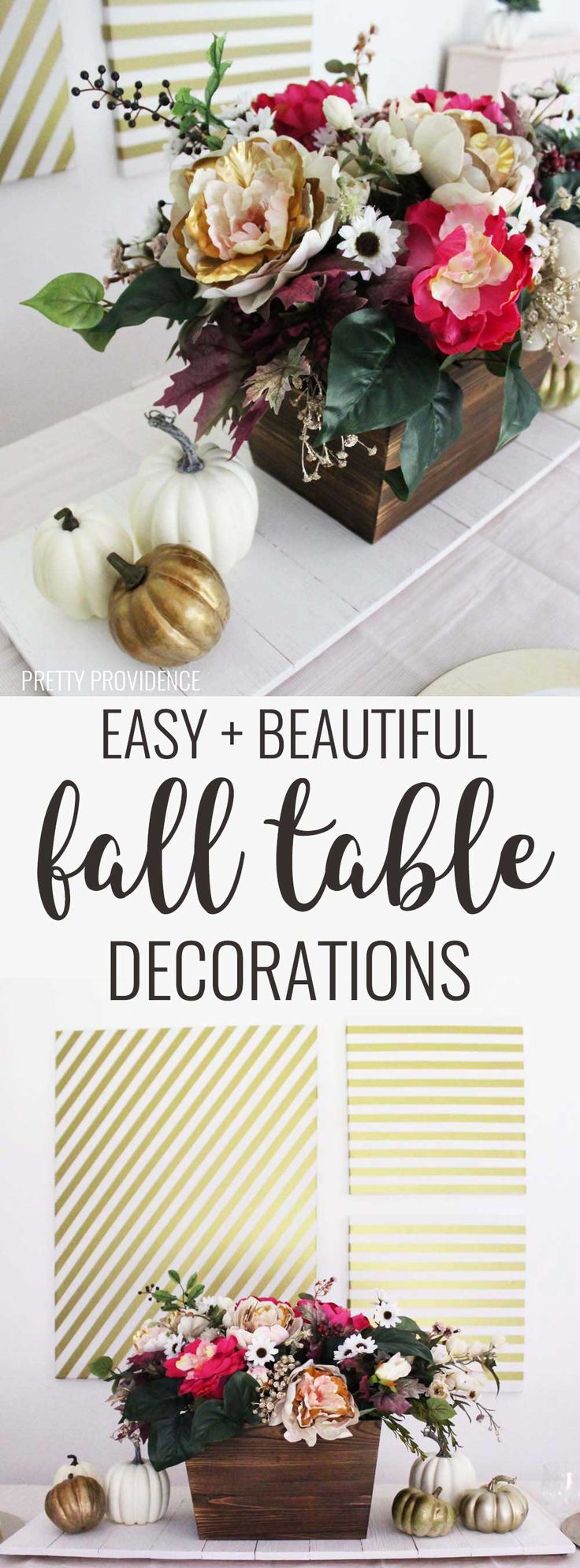 This fall table decor is perfect for thanksgiving!! You can't go wrong with a floral centerpiece and gold table decorations!