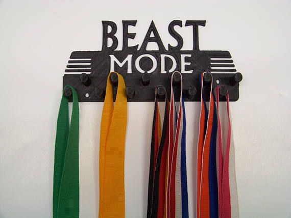 Plastic 7.5 Beast Mode Race Medal Holder Display Wall Decor Medal Ribbon Hanger Dual Rows  Mounting screws included  Same day Shipping