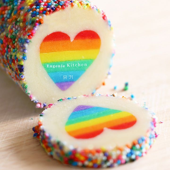 Valentine Rainbow Heart Cookies – Eugenie Cookies. This will be a labor of love but is definitely necessary! All of my favorite things in one cookie :D