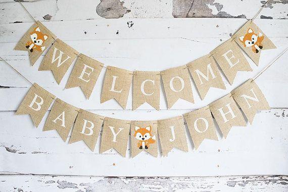 Woodland Baby Shower Decor Fox Baby Shower Banner Welcome
