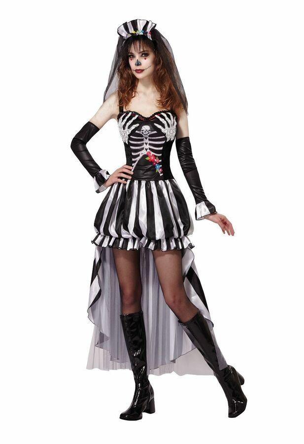 Ladies Skeleton Bride Costume Halloween Horror Womens Fancy Dress Outfit