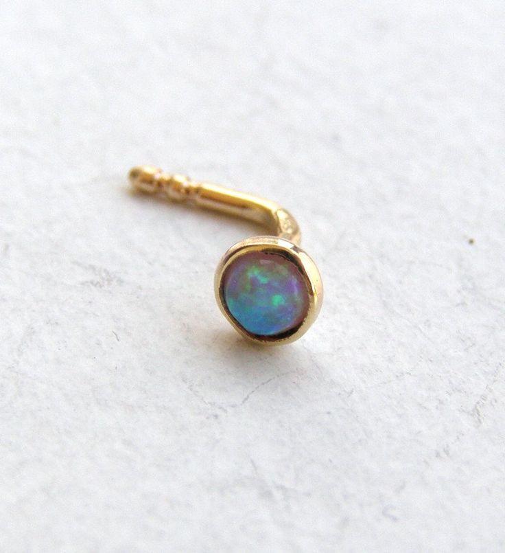 nose stud nose ring 14k solid gold nose ring opal nose ring