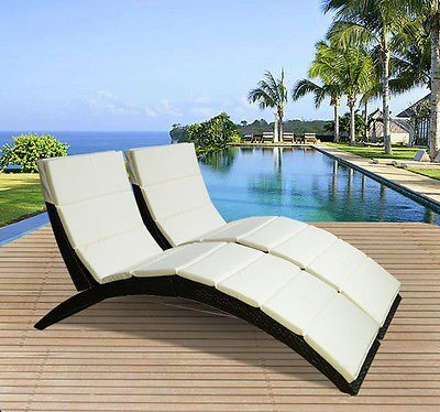 Outsunny Garden Patio Outdoor Pool 2 Pc Set Rattan Wicker Folding Sun  Lounger Recliner Bed Chair With Cushion FIRE RESISTANT Sponge (Brown Part 16