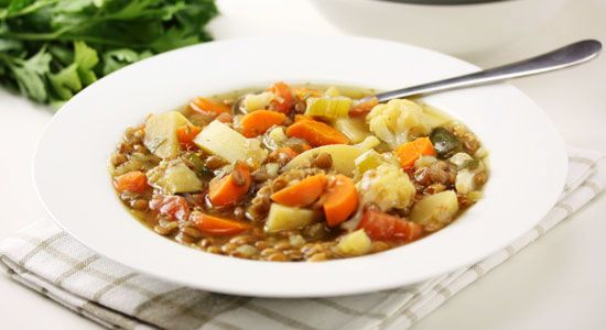 Brown Lentil & Vegetable Soup Recipe - weightloss.com.au