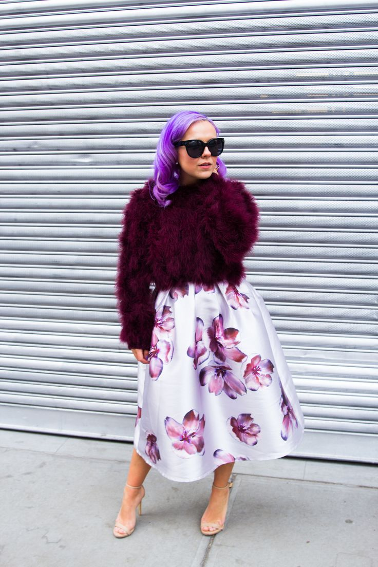 fur top with floral skirt