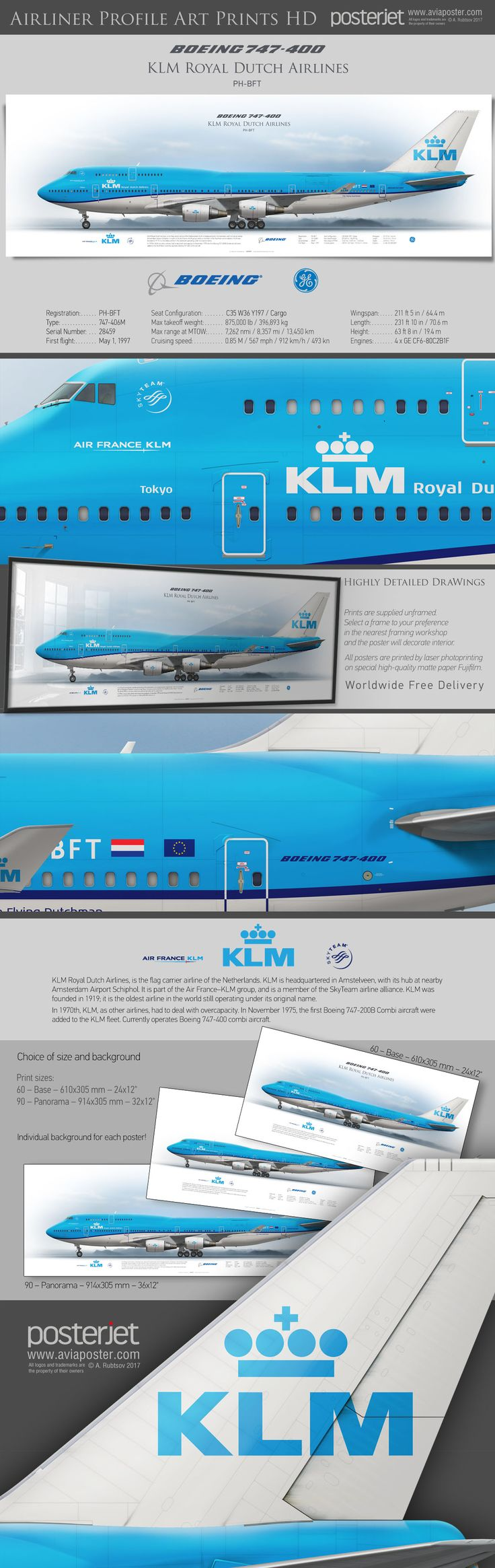 Boeing 747-400 KLM Royal Dutch Airlines PH-BFT  | www.aviaposter.com | #airliners #aviation #jetliner #airplane #pilot #aviationlovers #avgeek #jet #airport #pilotlife #cabincrew #boeing #b747 #jumbojet #boeing747 #boeinglovers #boeingpilot #boeingscrew