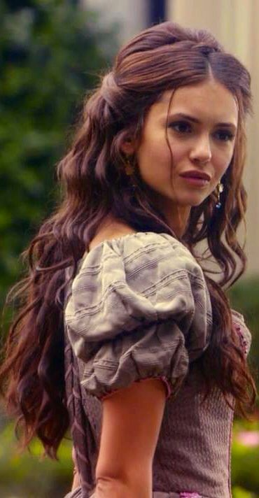 Dark curls. Brunette Katherine Pierce from The Vampire Diaries. Nina Dobrev hair
