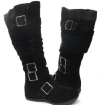 Womens Knee High Faux Suede Flat Winter Buckle Boots Black , 5.5-10