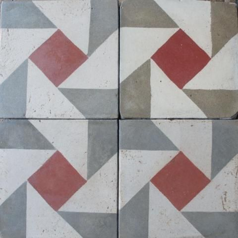 Reclaimed encaustic Remolino tile, available from Bert and May.