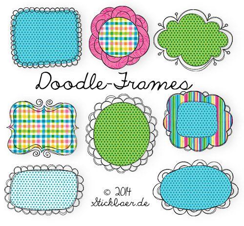 kostenlose Stickdatei Doodle Frames