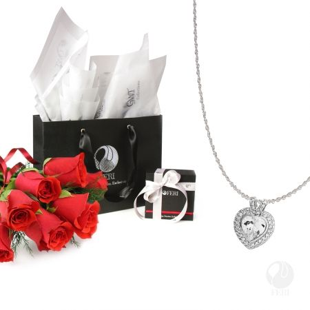 Global Wealth Trade Corporation - FERI Designer Lines Gift Package for her  Includes: - 1 FERI Light of Love Pendant - 1 FERI Silver Chain [5195] - 1 Small FERI Gift Bag - 1 FERI Pendant Jewelry Box - Tissue Paper - FERI Ribbon   Have a very Happy Valentines day!  http://bit.ly/1R7U03W