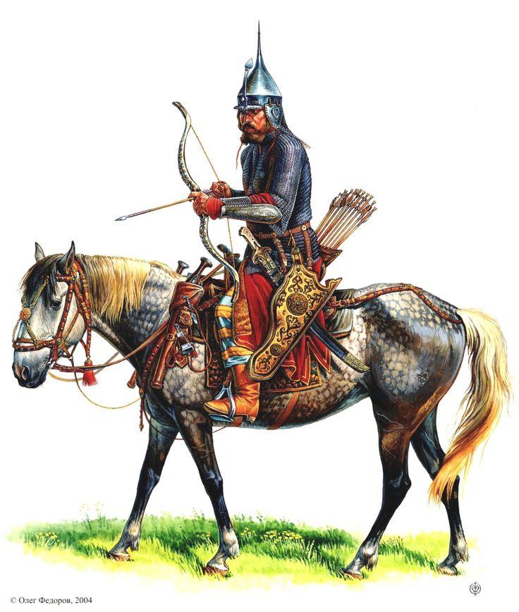 1500 - 1599 Воин русской поместно-дворянской конницы второй пол. XVI в. в остроконечном шеломе с еловцом и наручах турецкого типа. Вооружен турецкой же саблей XVI в.