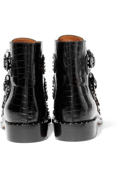 Givenchy - Studded Ankle Boots In Black Croc-effect Glossed-leather - IT37.5