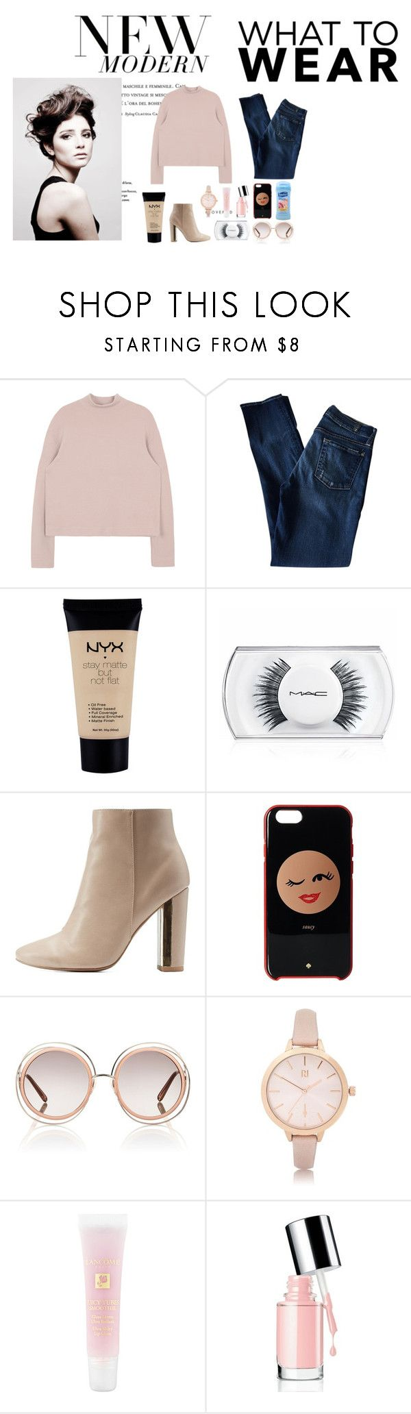 """""""Modern Sheek"""" by summer-118 ❤ liked on Polyvore featuring Angelo, 7 For All Mankind, NYX, MAC Cosmetics, Qupid, Kate Spade, Chloé, River Island, Lancôme and Suave"""