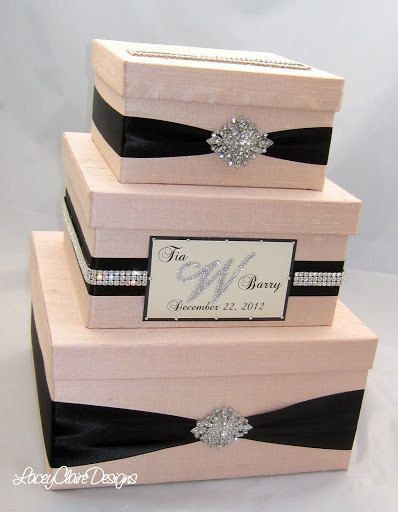 Wedding Gift Box, Bling Card Box, Rhinestone Money Holder  - Custom Made. $144.00, via Etsy.