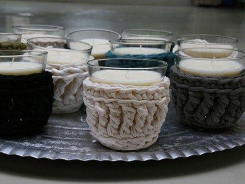 decorando com porta velas de tricô