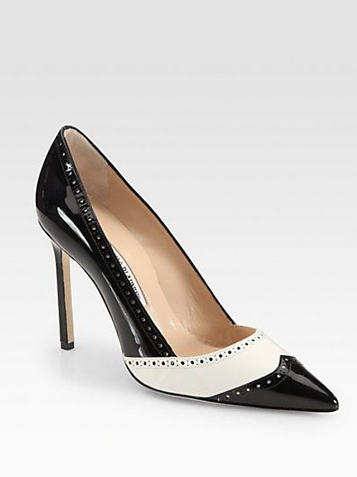 these manolo blahnik black and white leather and patent spectator pumps are... basically the most perfect creation of life.