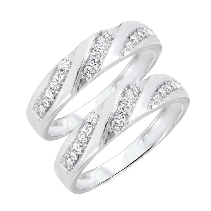 12 carat tw round cut mens same sex wedding band set 14k white gold - Same Sex Wedding Rings