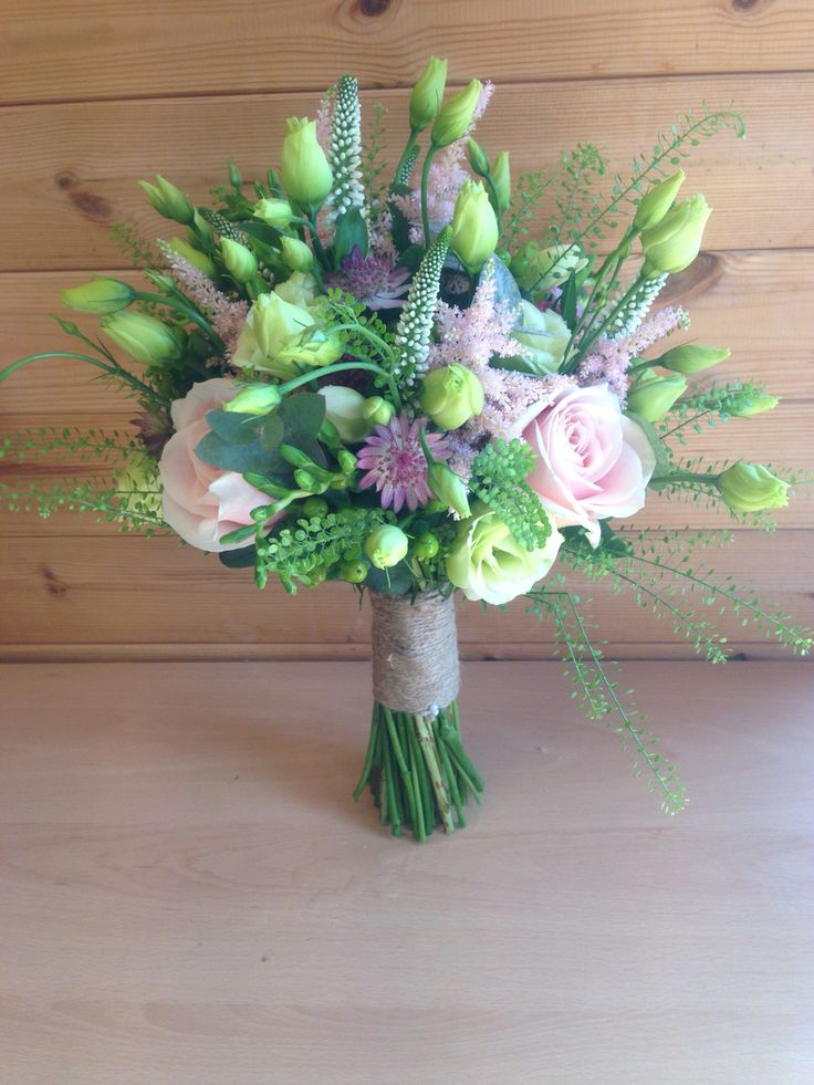 Sweet Avalanche, green bell, lisianthus, Veronica, astrantia and astilbe