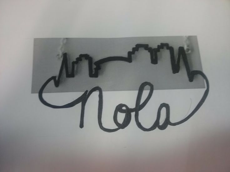 "New Orleans Skyline (simple) connected to ""NOLA"".  Rough idea."