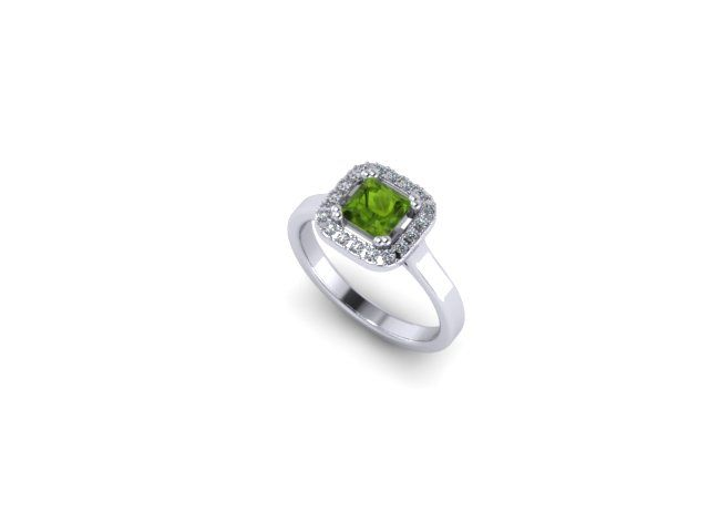 Colour Collection - Peridot, diamond and White Gold Ring