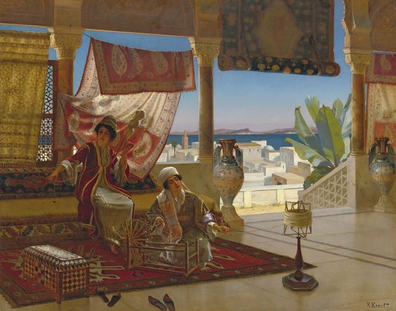 Ladies of leisure relaxing in the veranda.  These aren't rich ladies, just the middle class in Algeria mid 1800s.  Yet look at the gorgeous veranda.  Today in the West only the very wealthy could afford such spacious styles. Artist  Rudolf Ernst.