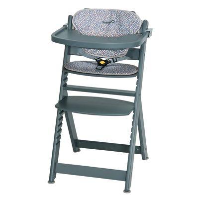 Safety 1st Chaise haute bébé bois timba gris avec coussin multicolor candy